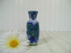 Vintage Beriozka Hand Painted Flow Blue Style Ceramic Vase - Retro Mid Century Cold War Era Petite Pottery Piece - Made In USSR Maker's Mark $24.00 by DivineOrders
