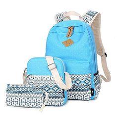 Canvas Rucksack, SANNU Schule Baumwolle Streifen Schultaschen Damen Daypack für Teens Studenten Mädchen (Stil A - Schwarz)