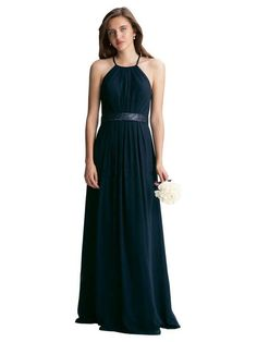 69f936e045f US 147.99 Wholesale Navy Halter Sleeveless Open Back Ruched Chiffon A-line  Floor Length Bridesmaid   Wedding Party Dresses from -  US.homecomingnightgirl.com