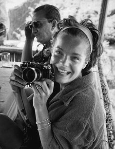 Romy Schneider smiling with camera