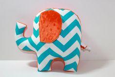 Chevron Elephant nursery pillow toy ELLE turquoise orange grey gray plush for modern baby
