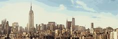 """Manhattan skyline with PicMonkey's """"Graphic Novel"""" effect from the new Comic Heroes theme. Manhattan Skyline, New York Skyline, Comic Bubble, Photo Effects, Photo Editor, Your Image, Book Design, Beautiful Places, Novels"""