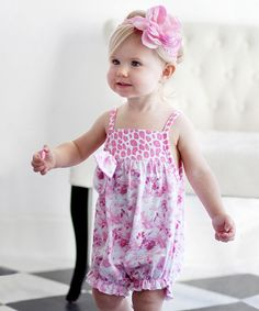 Take a look at this Pink Floral Bubble Romper - Infant by Nesting Baby on #zulily today!