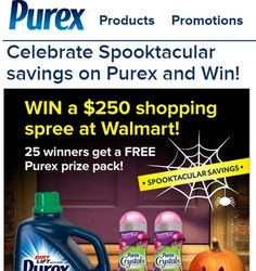 Enter the Celebrate Spooktacular savings on Purex and Win Sweepstakes and you could in Walmart Gift cards and more! Enter today and good luck!