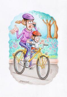 Cartoon -  Aproveitando a aventura, técnica com lápis de cor aquarelável - ano de 2012 - Concurso