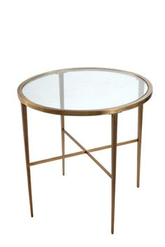 Mirror Glass Forged Metal Simply Perfect Clairemont Accent Table - Brushed brass side table