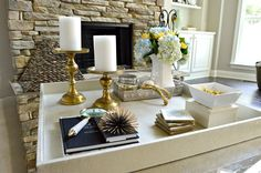 How to Style a Coffee Table Tray | ZGallerie tray | Coffee table styling | Coffee table decor kelleynan.com
