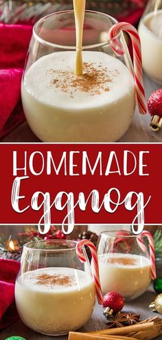 The store-bought stuff simply can't compete with a batch of this deliciously EASYHomemade Eggnog! Thick, creamy, and comforting, this eggnog recipe is perfect for spiking with your favorite liquor on those cold winter nights! Thanksgiving Drinks, Christmas Drinks, Holiday Drinks, Christmas Desserts, Holiday Recipes, Christmas Dinner Dessert Ideas, Eggnog Drinks, Yummy Drinks, Homemade Eggnog