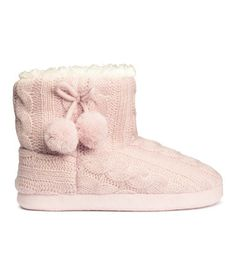 H&M Knit Slippers $18 : Description - Cable-knit slippers with a high ankle section and soft, anti-slip soles. Decorative pompoms at side. Pile lining. - Details - 100% acrylic. Machine wash warm. Imported.