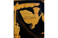 Vase grec, Stamnos à figure rouge, Vème siècle av JC,  (Vulci, Etrurie)  Conservé au British Museum (Londres) représentation d'un extrait du XIIe  chant de l'Odyssée : le héros, Ulysse, s'est fait  attacher au mât de son navire pour pouvoir écouter le chant des sirènes sans succomber à la tentation  de les rejoindre. Elles sont représentées telles que les Grecs les imaginaient et qu'Homère les a  décrites : des créatures mi femmes-mi oiseaux.