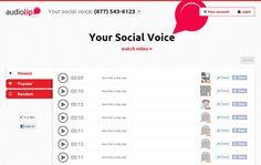 Con Audiolip podrías grabar un mensaje de hasta 15 segundos y compartirlo en Facebook o Twitter. Trabaja en línea, solo necesitas registrarte gratuitamente y tu micrófono para hacerte escuchar.