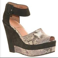 Bacio 61 Capella Blacksnake Print Platform Sandal