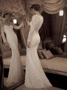 2016 Sexy Slim White Bridal Wedding Dresses Gown Custom Long Sleeve Vintage Lace