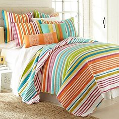 Bring sunshine and fun to your bedroom with the vivid, colorful Harper quilt. This quilt has a fresh feel with bright, bold stripes in an assortment of playful colors and is sure to brighten your bedroom with a feeling of relaxation and comfort.