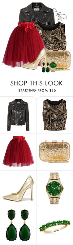 """Red, Green & Gold"" by abrar1 ❤ liked on Polyvore featuring Yves Saint Laurent, Parisian, Chicwish, NLY Accessories, Shoe Republic LA, Marc by Marc Jacobs and Kenneth Jay Lane"