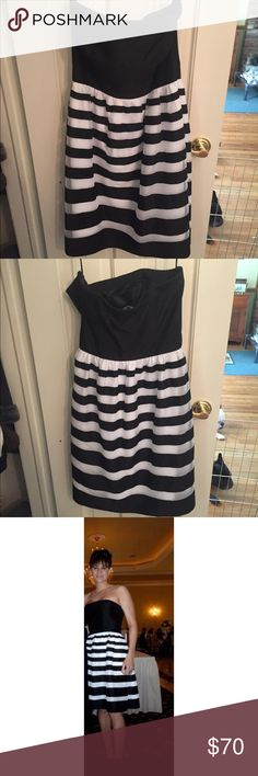 Black/white stripped strapless dress strapless dress. Worn once. In great condition. White House Black Market Dresses Strapless