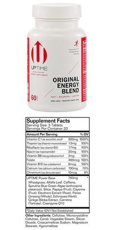 UPTIME Energy Original Blend Tablets - 60 Count Bottle