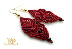 Micro macrame earrings   Red knoted earrings   Red S-lon thread by KatrinPodra on Etsy https://www.etsy.com/listing/249006013/micro-macrame-earrings-red-knoted
