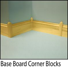 Baseboard corner blocks, no complicated cutting required. Available in stock and ready to ship. Floor Molding, Base Moulding, Moldings And Trim, Diy Molding, Baseboard Trim, Baseboards, Plinth Blocks, 1920s House, Architrave