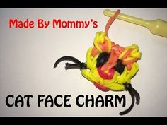 Rainbow Loom KITTY CAT FACE Charm. Designed and loomed by Made By Mommy. Click photo for YouTube tutorial.