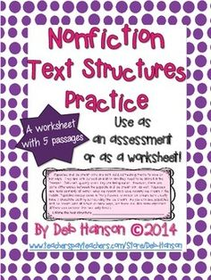 Printables Identifying Text Structure Worksheets identifying text structure powerpoint presentation cause and the worksheet contains 5 passages students read each paragraph identify of