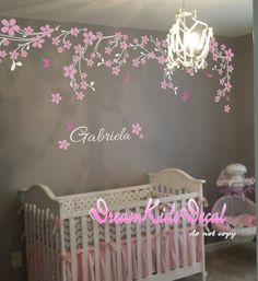 Vines wall decal sticker perfect for your nursery or kids room ! Overall size: W-91(230cm)X H-24(60cm) [WHATS INCLUDED IN DECAL PACK] Vines Blossoms Butterfly Words or Name Application instruction and small test decal [Colors] Please choose any 1 or 2 color from our color chart for