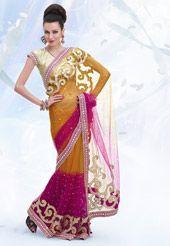 Orange and Rani Pink Net Saree with Blouse