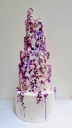 Dripping flowers purple wedding cake – Wedding Cakes With Cupcakes Crazy Cakes, Crazy Wedding Cakes, Purple Wedding Cakes, Amazing Wedding Cakes, Wedding Cakes With Cupcakes, Wedding Cake Toppers, Wedding Flowers, Purple Cakes, Painted Cakes