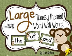 LARGE Monkey Themed Word Wall Words {Editable} - great find for a rainforest theme classroom Future Classroom, School Classroom, Classroom Themes, Classroom Organization, Rainforest Classroom, Rainforest Theme, Word Wall Kindergarten, Kindergarten Themes, Jungle Theme