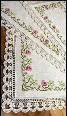 This Pin was discovered by Hür Cross Stitch Letters, Cross Stitch Rose, Cross Stitch Borders, Crochet Borders, Cross Stitch Samplers, Modern Cross Stitch, Cross Stitch Flowers, Cross Stitch Designs, Cross Stitch Embroidery