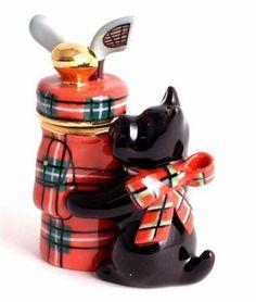 Charming porcelain trinket box - Black Scottie dog with golfbag and golfclubs | eBay