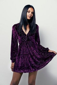 royal purple // Free People All Night Long Mini Dress at Free People Clothing Boutique