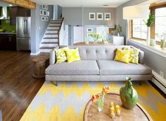 Eclectic Living Room Yellow - 12 Gray and yellow living room ideas Living Room New York, Living Room Photos, Rugs In Living Room, Living Room Furniture, Table Furniture, Living Area, Eclectic Living Room, Transitional Living Rooms, Modern Living