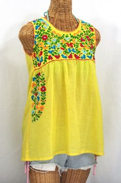 "Siren's ""La Sirena"" Sleeveless Mexican Blouse in Bright Yellow with Fiesta Style Embroidery...."