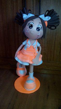 Fofuchas laestrellarosae, fofucha vestido naranja fluorescente...
