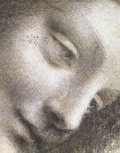 The Head of the Virgin in Three-Quarter View Facing Right. Leonardo da Vinci