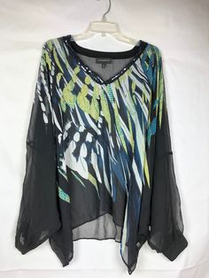 4a79db082d8 LANE BRYANT Womens Top size 22 24 Sheer Dolman Sleeve Sequin V-neck Black