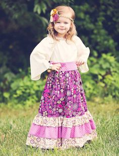 Maxi Peasant Dress  for Little Girls - Skirt and Top Outfit on Etsy, $59.00
