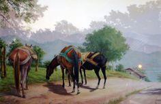 Horse Art, Landscape Paintings, Westerns, Decoupage, Horses, Fine Art, Comics, Bullock Cart, Landscape Photos