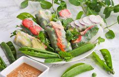Vietnamilaiset rullat ja maapähkinädippi - helppo ohje! Fresh Rolls, Tuna, Green Beans, Mango, Fish, Meat, Vegetables, Ethnic Recipes, Manga