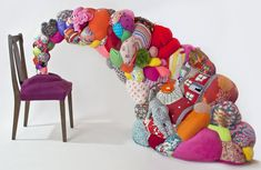 Hoda Zarbaf artwork including up cycled colorful #crochet