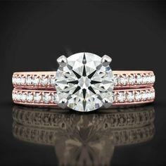 IGI Certified 0.90 Ct Round Diamond Engagement Band Set Solid 18K Rose Gold 6 9 #Handmade