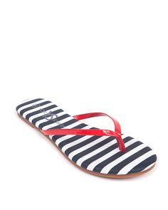Yosi Two Tone Stripe Flip Flop #red #navy #stripe