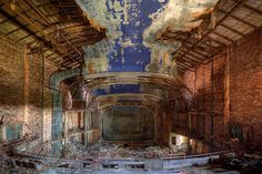 Abandoned Palace Theater, Gary, Indiana    The Palace Theater was designed in 1924 and opened a year later, featuring live stage shows and vaudeville acts. When the US Steel plant in Gary went into decline, so did the rest of the town, including the historic theater. The Palace slid into decline, and eventually shut down entirely in 1972. Though the Jackson 5 are originally from Gary, they never actually performed in the Palace Theater (despite what the theatre marquee says.)