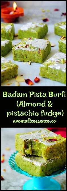 Soft, fudgy and melt in the mouth, Indian Badam pista burfi (almond & pistachio fudge)! It is made without mawa/khoya (evaporated milk solids). You just need few basic ingredients to make this burfi, which is ready within minutes. Fudge Recipes, Sweets Recipes, Cooking Recipes, Cooking Beef, Ramadan Recipes, Cake Recipes, Indian Dessert Recipes, Indian Sweets, Indian Recipes