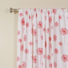 The Pillow Collection Dandelion White Coral Rod Pocket Curtain Single Panel | Wayfair