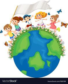 Children running around the earth with flag Vector Image