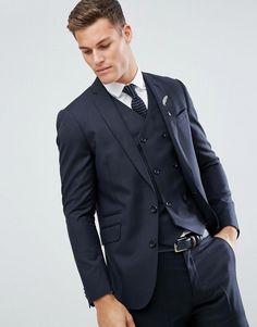 ASOS Slim Suit Jacket In Navy 100% Wool - Navy