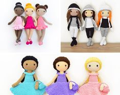 THREE Crochet Patterns in English - Tracey Ballerina Doll, Sarah the Winter Doll and Mia the Sweet Doll - Amigurumi - Instant PDF Download