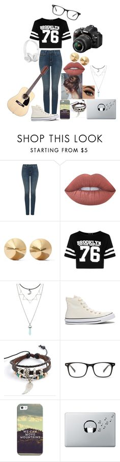 """""""youtube cover"""" by fangirl-20037 ❤ liked on Polyvore featuring NYDJ, Lime Crime, Eddie Borgo, Boohoo, Hot Topic, Converse, Trend Cool, Casetify, Music Notes and Nikon"""